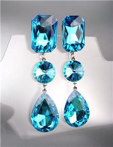 STUNNING Teal Blue Czech Crystals LONG Bridal Queen Pageant Prom CLIP Earrings