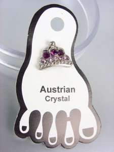 ADORABLE Purple Austrian Crystal TIARA Invisible PETITE Toe Ring