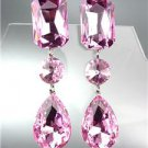 GLITZY Light Pink Czech Crystals LONG Bridal Queen Pageant Prom CLIP Earrings