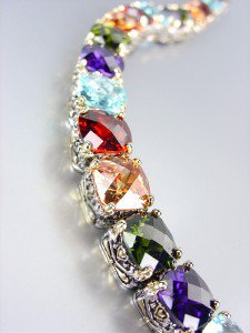 Designer Style Silver Gold Balinese Multicolor CZ Crystals Links Bracelet