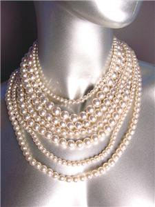 CHIC & CLASSIC 7 Strands Creme Pearls Layered Necklace Earrings Set