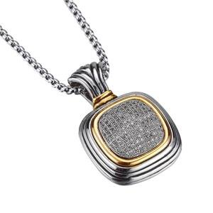 CLASSIC Designer Balinese Silver Pave CZ Crystals Square Pendant Necklace 758