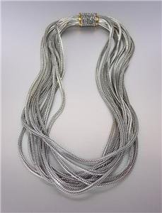 Designer Style 10 Strands Silver Foxtail Cable Chains Magnetic Clasp Necklace