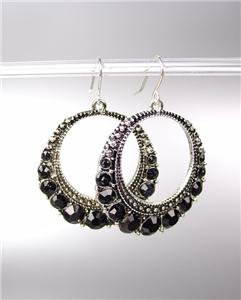 SPARKLE Antique Silver Metal Black CZ Crystals Round Dangle Earrings