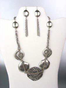 UNIQUE Antique Silver Metal Disks Chains Drape Necklace Earrings Set