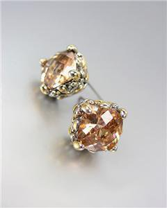 Designer PETITE Silver Gold Balinese Champagne Brown Topaz CZ Crystal Earrings