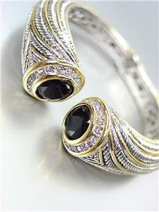 STUNNING Chunky Black Onyx Crystals Tips Silver Cable Gold Hinged Cuff Bracelet
