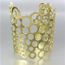 CHIC & UNIQUE Gold Metal Honeycomb WIDE STATEMENT Cuff Bracelet
