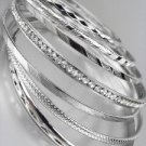 CHIC 7 PC Etched Silver Metal CZ Crystals Plus Size Wide Bangle Bracelets