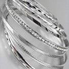 CHIC 7 PC Etched Silver Metal CZ Crystals Plus Size Wide Bangle Bracelets