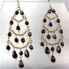 EXQUISITE Black Onyx Crystals Gold Metal Chandelier Dangle Peruvian Earrings