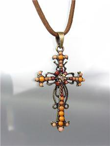 CHIC Antique Burnished Gold Brown Crystal Beads CROSS Suede Necklace Set