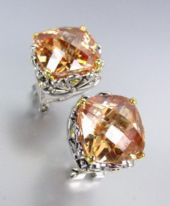 Designer Style Silver Gold Balinese Filigree Brown Champagne CZ Crystal Earrings