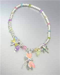 ADORABLE Multi Enamel Dragonfly Charms Multi Crystals Silver Stretch Anklet