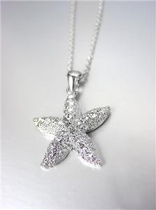 SPARKLE SHIMMER 18kt White Gold Plated CZ Crystals STARFISH Necklace