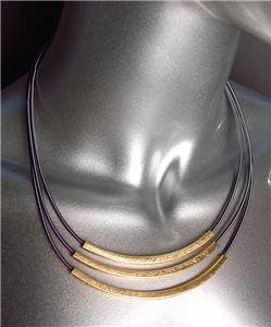 GORGEOUS 3 Tier Burnished Gold Metal Bars Antique Spring Mesh Chains Necklace