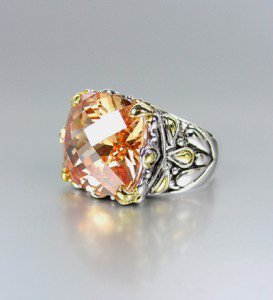 *NEW* Designer Inspired Brown Topaz CZ Crystal Silver Gold Balinese Ring