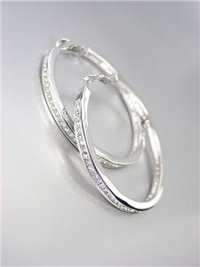 """CLASSIC 18kt White Gold Plated CZ Crystals 1 5/8"""" Diameter Hoop Earrings"""