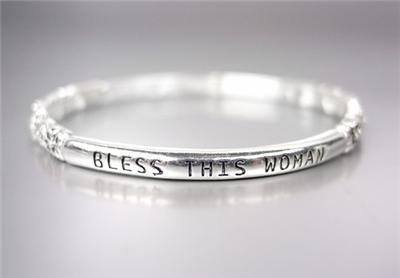 INSPIRATIONAL Thin Silver Filigree BLESS THIS WOMAN Stretch Stackable Bracelet