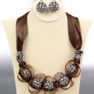 SPARKLE Brown Satin Antique Rhinestone Balls Crystals Tulle Necklace Set