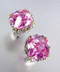 Designer Style Silver Gold Balinese Filigree Pink Quartz CZ Crystal Earrings