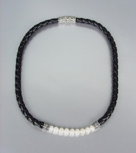 CLASSIC Designer Style Genuine Creme Pearls Black Cord Balinese Necklace
