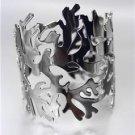 UNIQUE Antique Hematite Coral Motif Metal Cuff Bracelet