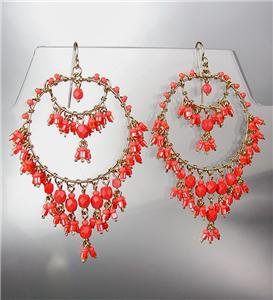 EXQUISITE Urban Anthropologie Coral Red Crystals Gold Chandelier Dangle Earrings