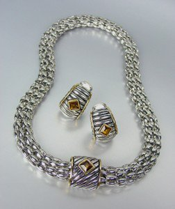 Designer Style Silver Cable Gold Brown Topaz Crystal Magnetic Mesh Necklace Set