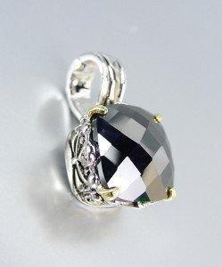 Designer Style Silver Gold Balinese Filigree Black Onyx CZ Crystal Pendant