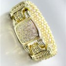 CLASSIC Designer Style Gold Mesh Pave CZ Crystals Magnetic Clasp Bracelet