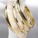 Natural Mother Pearl Shell Brass Filigree Resin 5 PC Plus Size Bangle Bracelets