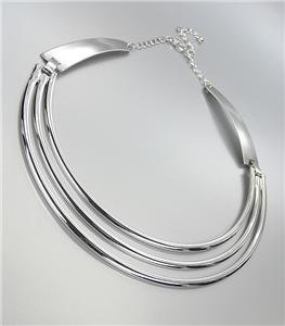 GORGEOUS & CHIC Sculpted Modern Silver Metal 3 Rows Collar Choker Necklace