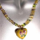 DECORATIVE Yellow Multi Cloisonne Enamel Floral Heart Pendant Necklace