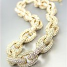 STUNNING Chunky Designer Style Gold CZ Crystals Encrusted Chain Links Necklace