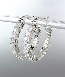 CLASSIC Thin 18kt White Gold Plated CZ Crystals Petite Hoop Earrings