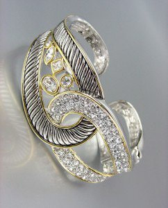 CHIC Designer Style Silver Cable Pave CZ Crystals LOOP Hinged Cuff Bracelet