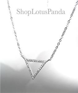 CHIC 18kt White Gold Plated CZ Crystals TRIANGLE Pendant Petite Dainty Necklace