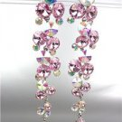 STUNNING Pink Iridescent AB Czech Crystals WATERFALL Long Dangle Earrings