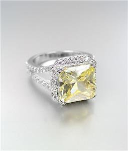 LUMINOUS 18kt White Gold Plated 12.32CT Canary Yellow CZ Crystals Cocktail Ring