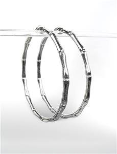 "CHIC & STYLISH Silver Plated Bamboo Motif 2"" Diameter Hoop Earrings"