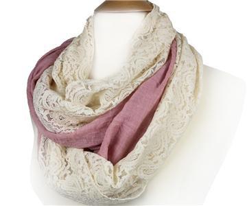 ELEGANT Mauve Pink Linen Feel Creme Brocade Lace INFINITY Wrap Scarf