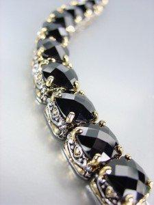 Designer Style Silver Gold Balinese Black Onyx CZ Crystals Links Bracelet