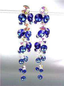 STUNNING Sapphire Blue Iridescent Czech Crystals WATERFALL Dangle Earrings