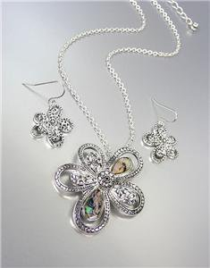 NEW Brighton Bay Silver Dots Mother of Pearl Shell Flower Necklace Earrings Set