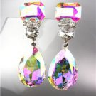 STUNNING Iridescent AB Czech Crystals Bridal Queen Pageant Prom CLIP Earring