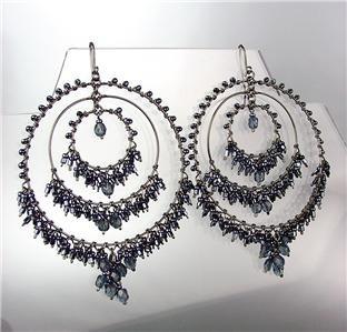 EXQUISITE Midnight Blue Crystals Hematite Beads Chandelier Peruvian Earrings