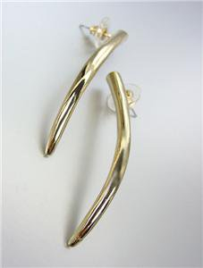 SIMPLY CHIC Basketball Wives Style  GOLD Metal Curved TUSK Post Earrings