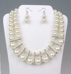 ELEGANT Bridal Dressy Creme Pearls Crystals Drape Necklace Earrings Set