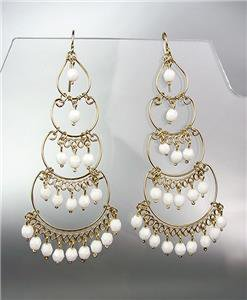 STUNNING White Crystal Beads Gold Chandelier Dangle Peruvian Earrings B46-3